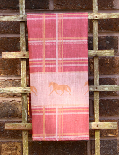Pink Plaid Horse Tea Towel (linen)