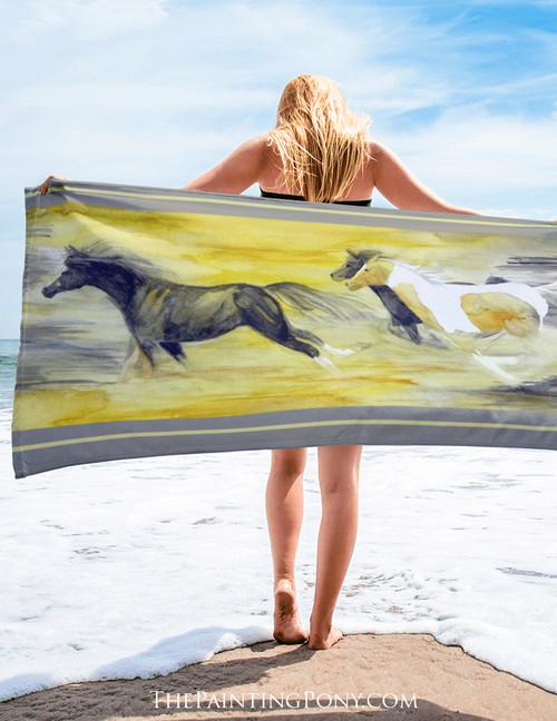 Abstract Galloping Horse Beach Towel