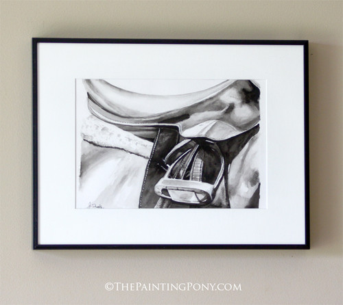 Black and White Watercolor Horse Saddle Painting