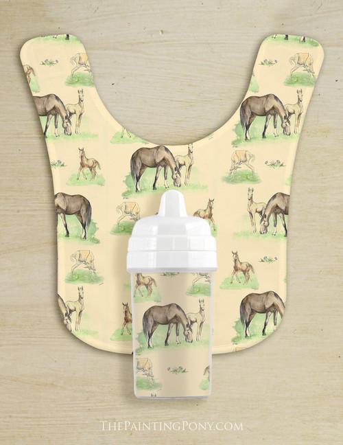 Cute Horse Foals Baby Bib & Sippy Cup Set