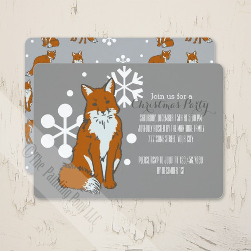 Snow Fox Christmas Party Invitations
