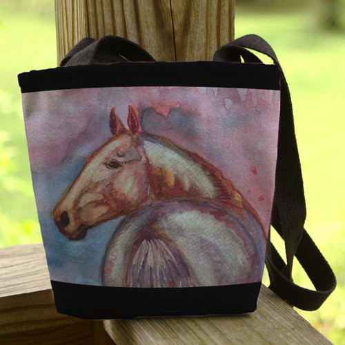 Horse head art tote bag