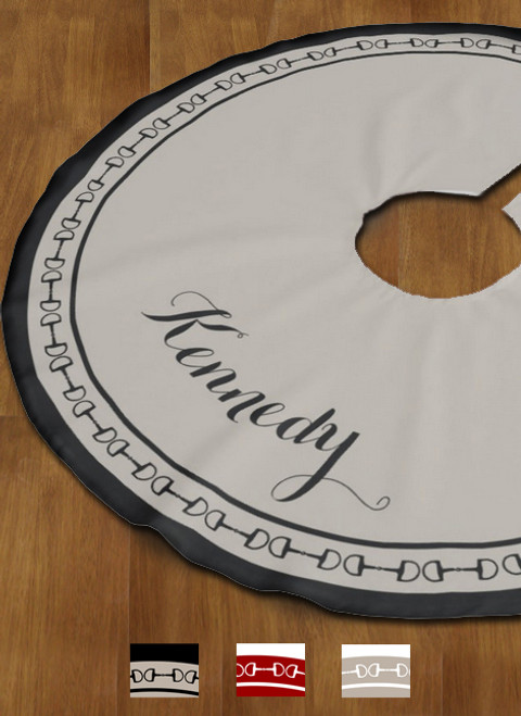 Classic Equestrian Horse Bit Personalized Tree Skirt