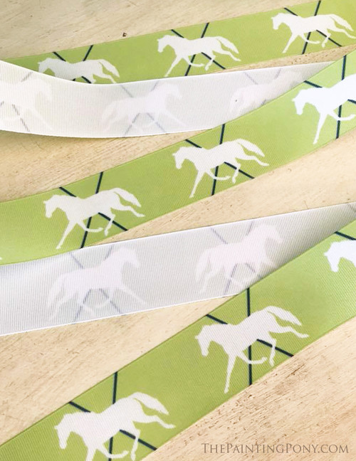 Lime and Navy Trotting Pony Grosgrain Ribbon