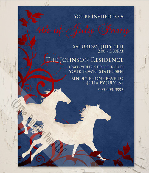 wild horses 4th of july equestrian barn party invitation