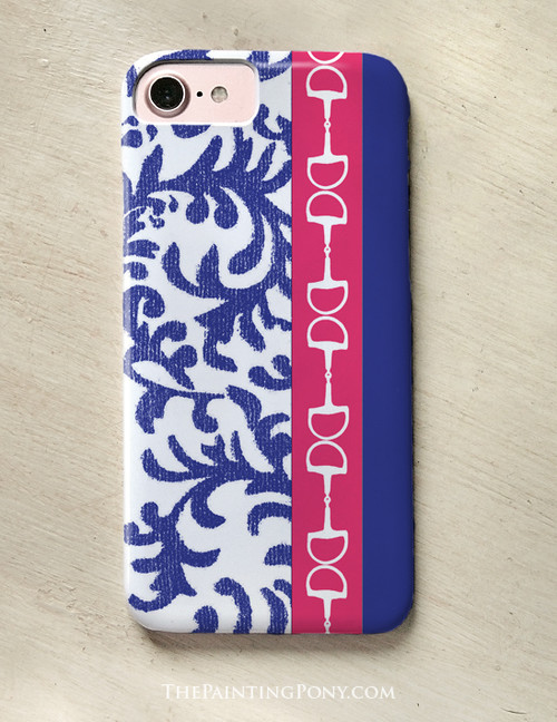 Blue and Pink Damask Horse Bit Pattern Phone Case