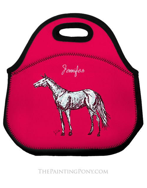 Personalized Pink Horse Equestrian Lunch Tote Bag