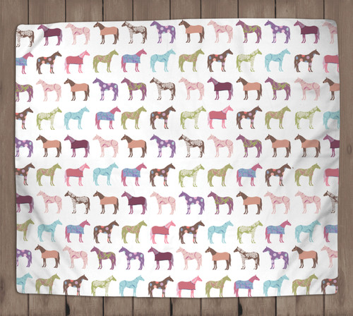 Colorful Horse fleece blanket
