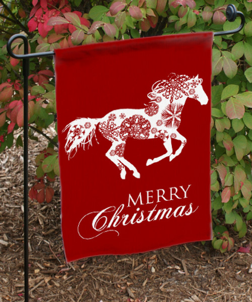 Merry Christmas Galloping Snowflake Horse Garden Flag   The Painting Pony