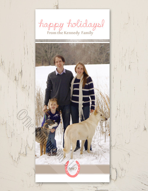 Equestrian Horse Shoe Tall Photo Christmas Card