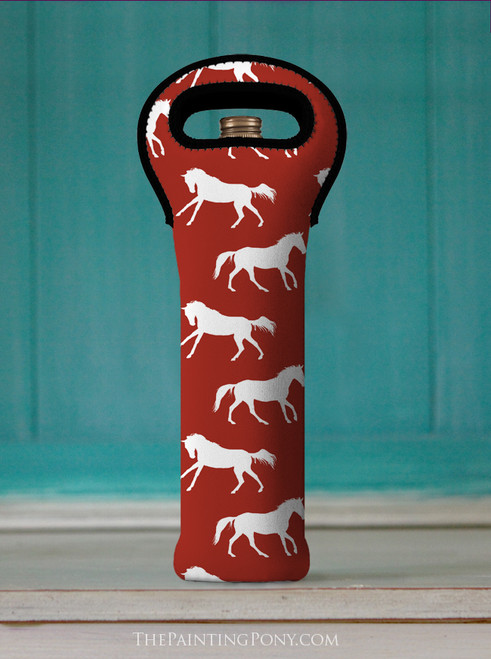 Red Galloping Horse Equestrian Wine Tote