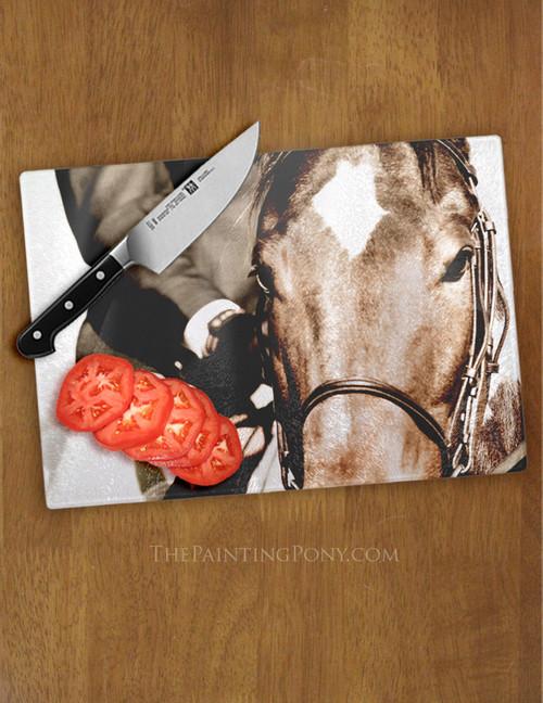 Show Horse Equestrian Glass Cutting Board