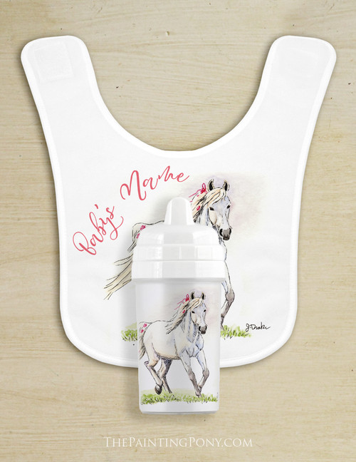 Adorable White Pony Baby Bib & Sippy Cup Set