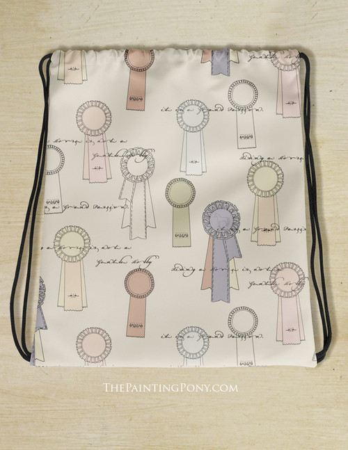Horse Show Ribbons Equestrian Pattern Drawstring Gym Tote Bag