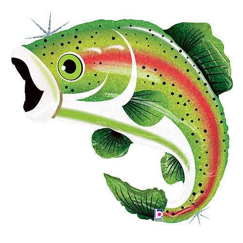 Rainbow trout fish mylar party balloon