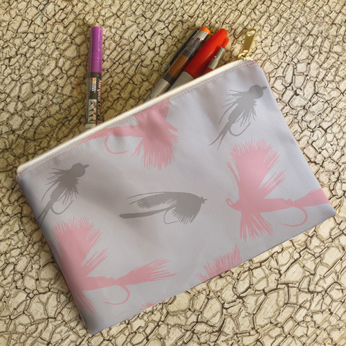 Ladies Fly Fishing Pink Lures Pattern Accessory Make-up Bag