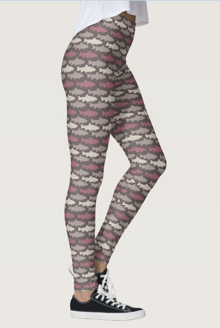Purple Trout Fish Pattern Leggings