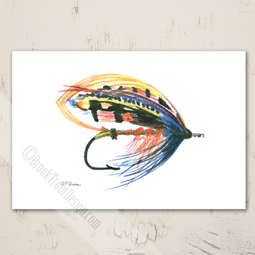 Salmon Wet Fly Fishing Lure Blank Note Cards