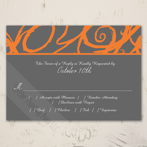 Orange and Grey Sketchy Frame Wedding RSVP card (10 pk)