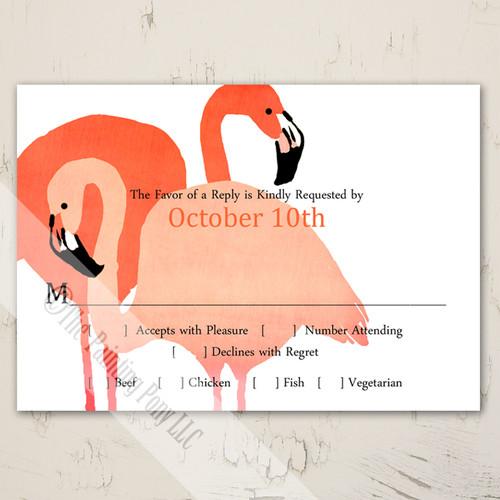 Flamingo Wedding Invitation RSVP card