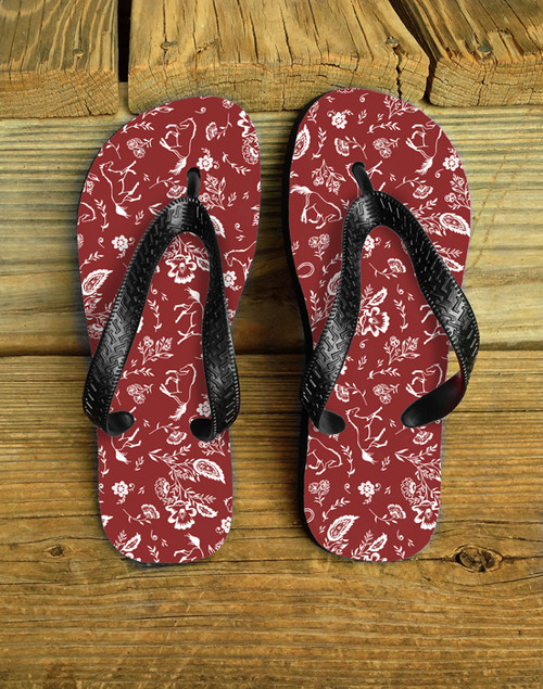 Country Floral Horses Equestrian Flip Flops