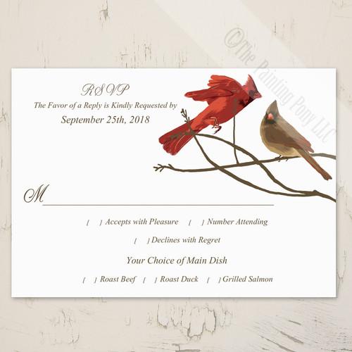 winter cardinal birds wedding response card or rsvp