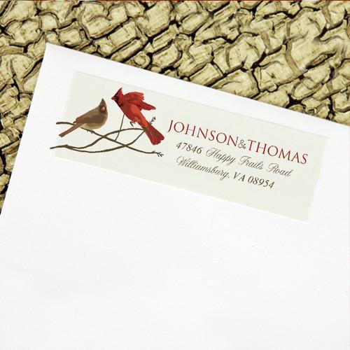 Winter Cardinal birds wedding return address labels