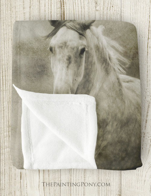 Galloping Dappled Grey Horse Fleece Throw Blanket