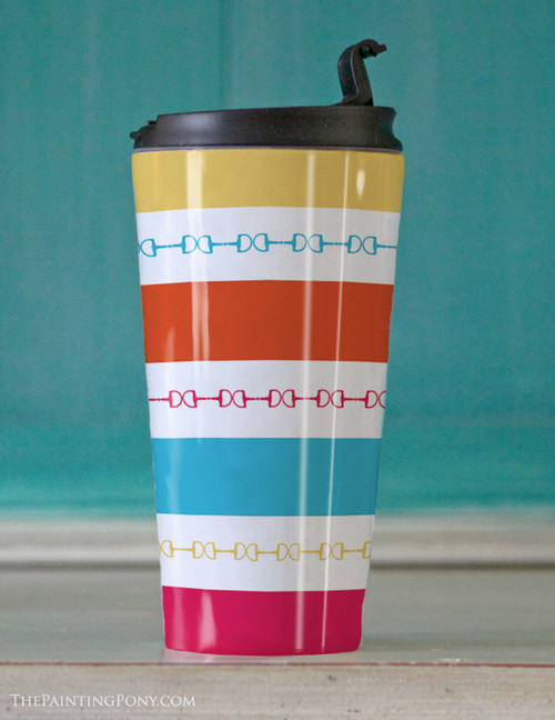 Modern Striped Horse Bits Travel Tumbler 15oz