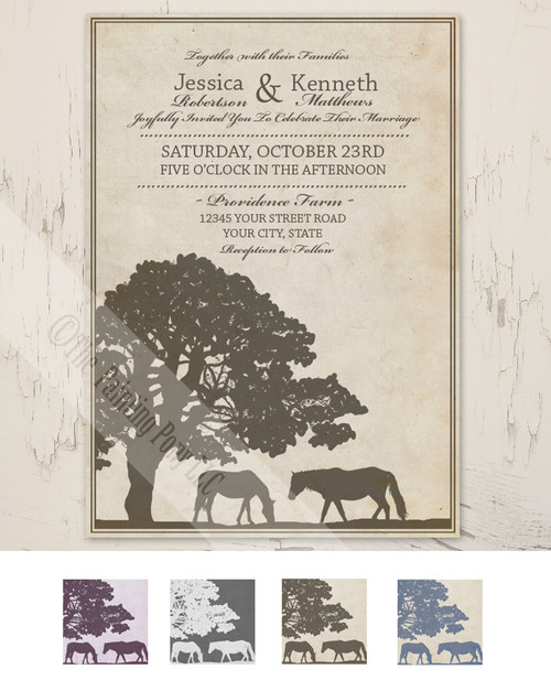 rustic horse farm equestrian wedding invite