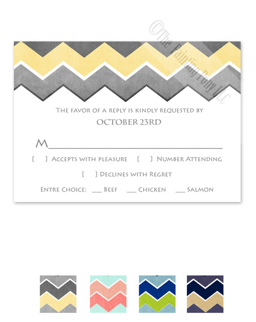 Classic Chevron Pattern Wedding RSVP card (10 pk)