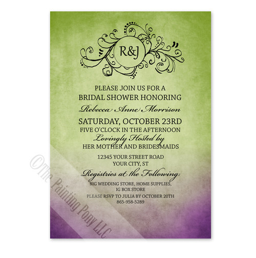 Rustic Bohemian Purple and Green Bridal Shower Invitation (10pk)