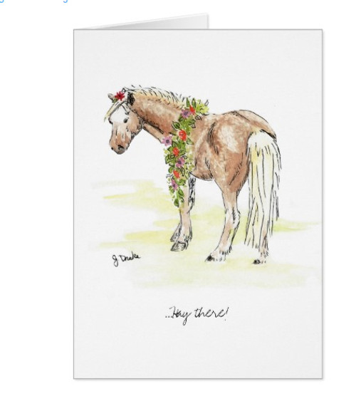 White pony girls birthday card the painting pony whimsical horse birthday card bookmarktalkfo Images