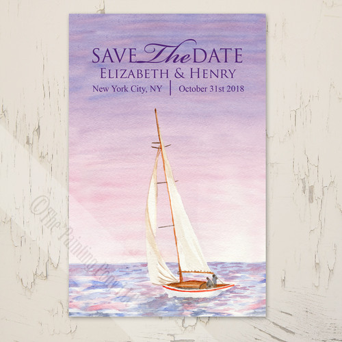 Sail Boat Watercolor Nautical Wedding Save The Date Postcards (25 pk)