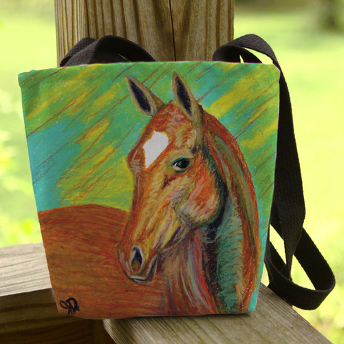 Chestnut horse head art tote bag