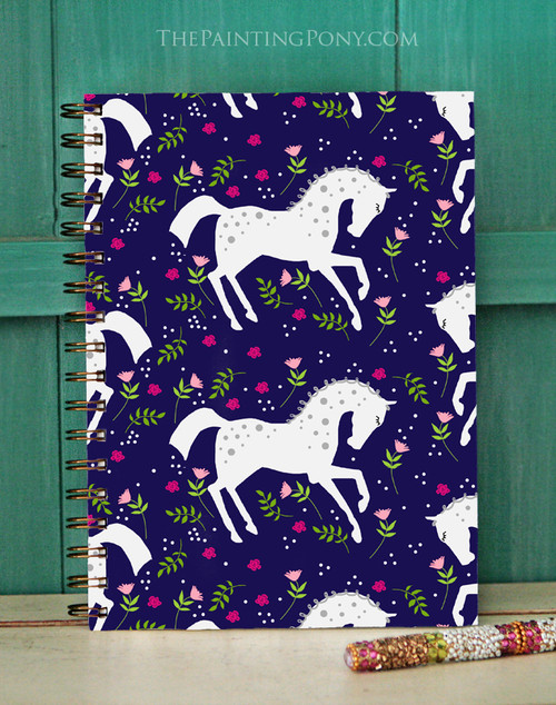 Dappled White Pony Floral Pattern Equestrian Bullet Journal