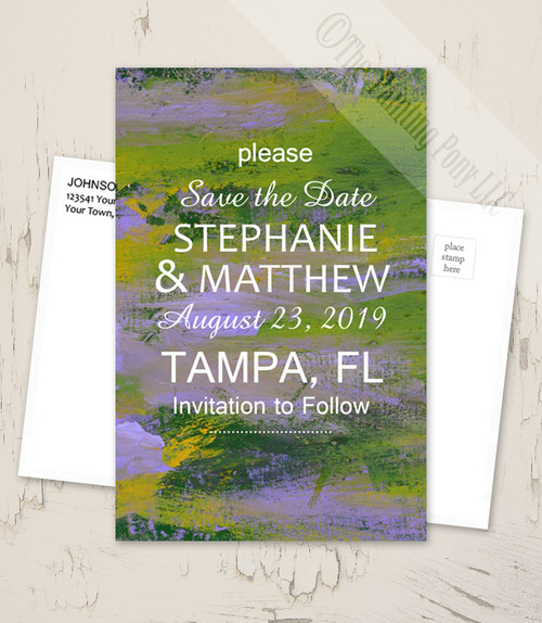 Purple and Green Abstract Painting Save The Date Postcards (25 pk)