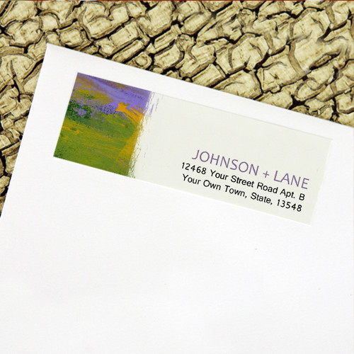 Purple and Green Abstract Painting Wedding Return Address Labels