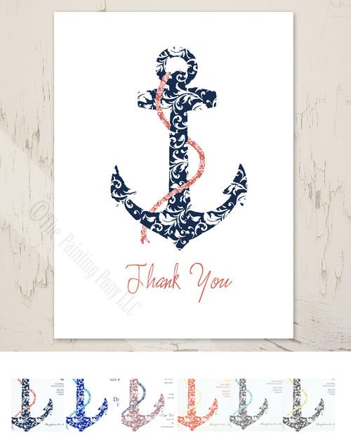 Ship Anchor Wedding Thank You Cards (10 pk)
