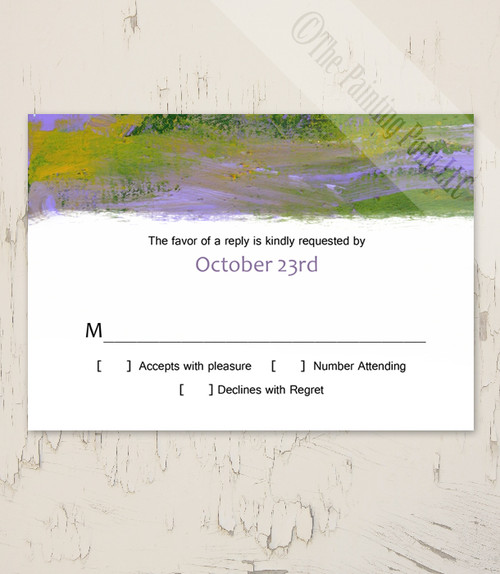 Purple and Green Abstract Painting Wedding RSVP card (10 pk)