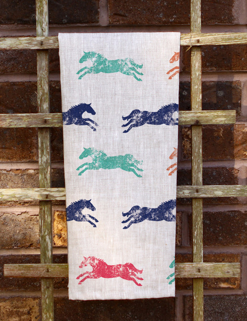 Colorful Galloping Horse Pattern Tea Towel