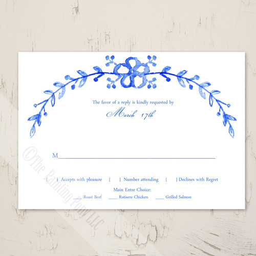 Watercolor Country Floral Wedding RSVP card (10 pk)