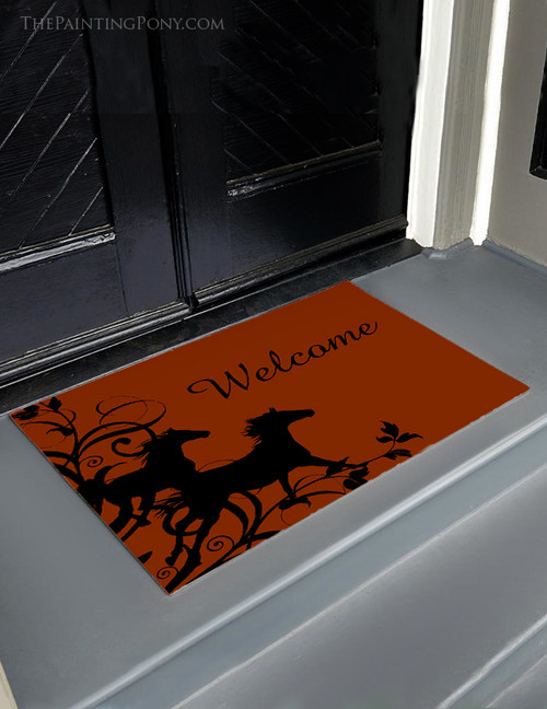 Galloping Wild Horses Equestrian Welcome Mat