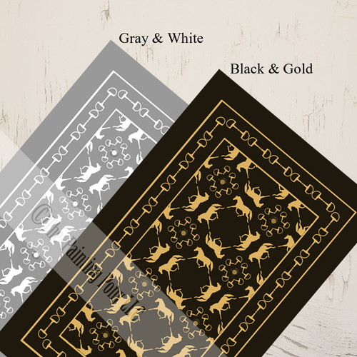 Choose from Gray or Black with Gold colors.