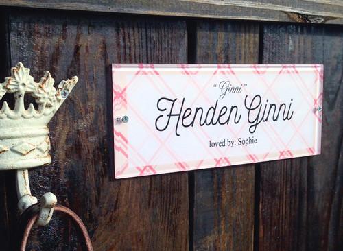 Pink Preppy Plaid Custom Acrylic Horse Stall Name Plate