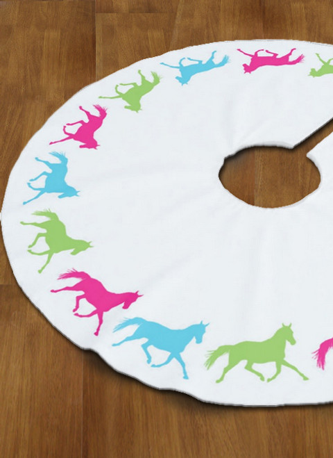 Colorful Trotting Horse Christmas Tree Skirt