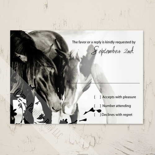 Pony Love Equestrian Wedding RSVP card (10 pk)