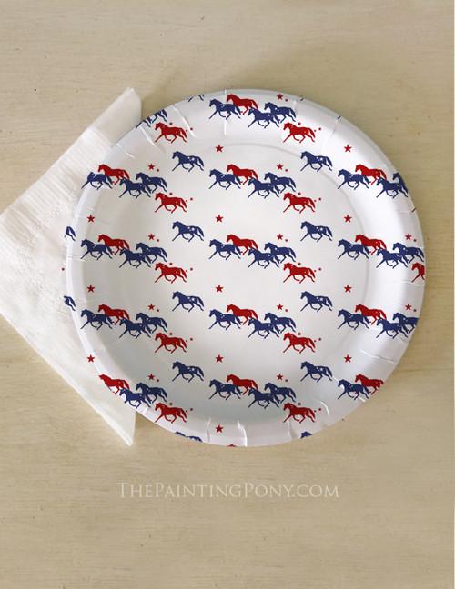 Patriotic Horses Paper Party Plates (8 pk)