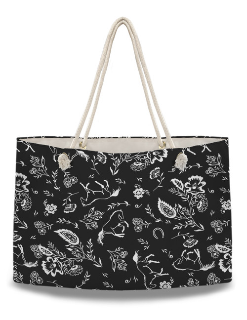 Country Floral Horse Pattern Weekender Tote Bag