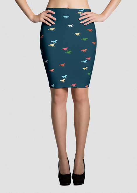 Modern Galloping Horse Pattern Pencil Skirt
